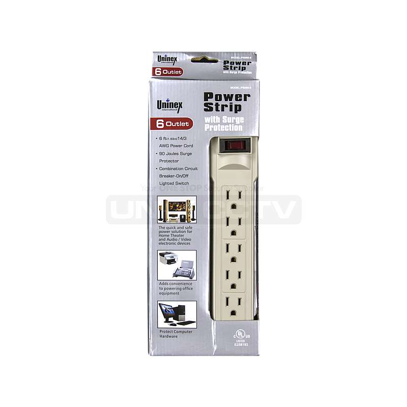 6 Outlet Surge Protection POWER STRIP 6/' ft Cord Lighted Circuit Breaker Switch